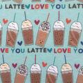 Doodles Juvenile Interlock Knit Fabric 57\u0027\u0027-Latte Love on Blue