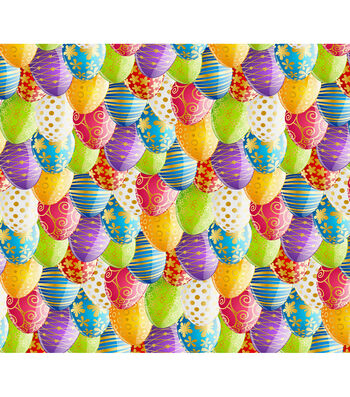 Easter Cotton Fabric-Photo Real Eggs