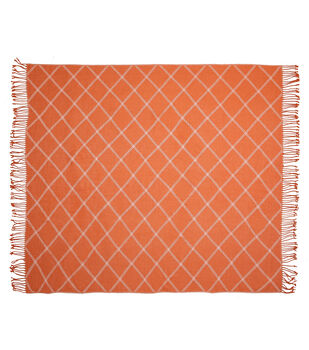 Simply Autumn 50x60'' Plaid Diamond Throw-Cream & Orange