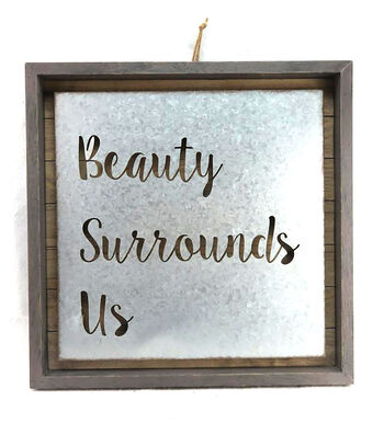 Hello Spring Laser Cut Metal & Wood Wall Decor-Beauty Surrounds Us