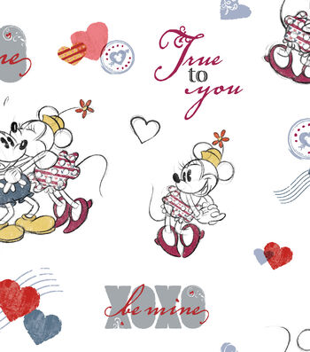 Valentine's Day Fabric 43''-Mickey & Minnie True to You
