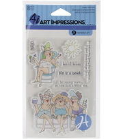 Art Impressions People Clear Stamps-Beach Babes, , hi-res