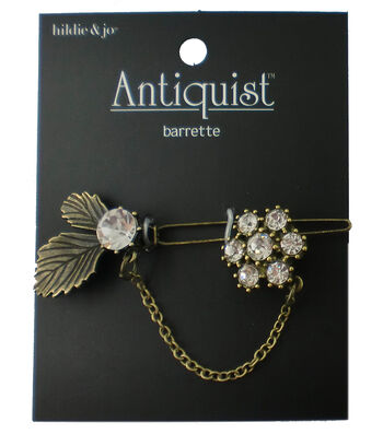 hildie & jo Antiquist Leaves & Flower Antique Gold Barrette