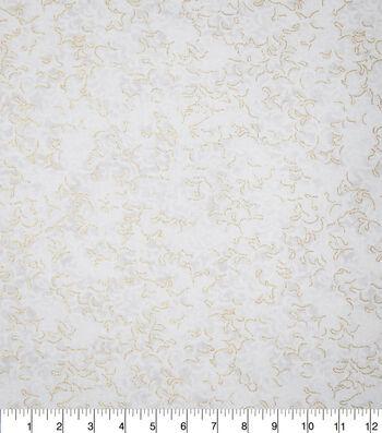 Premium Cotton Fabric-Camila Cream Metallic Vines
