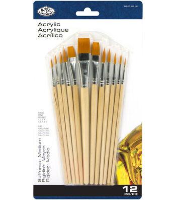 Royal Langnickel 12pc Round & Flat Brush Set-Gold Taklon