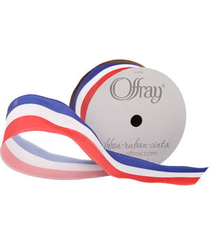 """Offray 1.5""""x9' Uncle Sam Patriotic Woven Wired Edge Ribbon-Multi"""