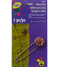 Daisy Flower with Stones Shawl Pin Copper/Brown