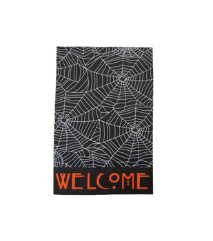 Maker's Halloween 12''x18'' Flag-Welcome & Spider Web