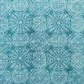 Luxe Fleece Fabric-Blue & White Large Circle Geometrics