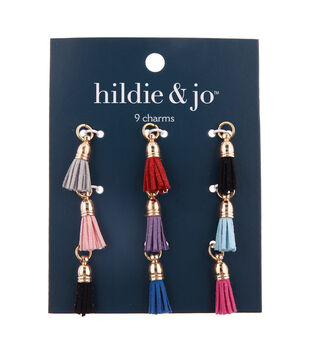 hildie & jo 9 pk Artificial Leather Tassel Charms