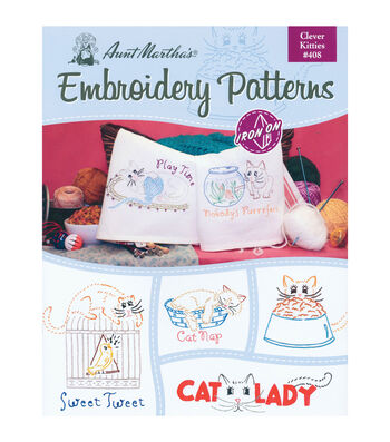 Aunt Martha's Colonial Patterns Iron-On Transfer Books Clever Kitties