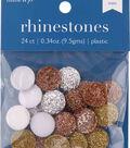 hildie & jo 24 pk Round Flat Back Rhinestones-Silver, Bronze & Gold