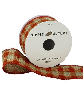 Simply Autumn Ribbon 1.5''x12'-Natural Plaid