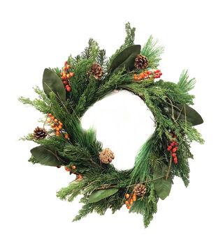 Handmade Holiday Homestead Pine, Magnolia Leaf & Orange Berry Wreath