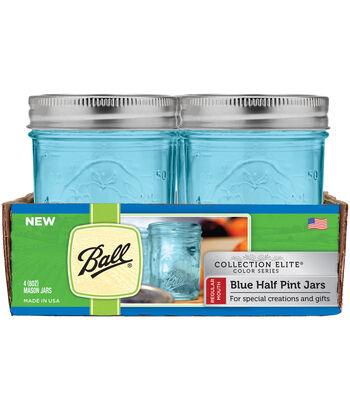 Ball Collection Elite Color Series 4 pk 8 oz. Half Pint Jars-Blue