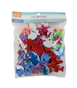 Little Makers Solid And Gitter Foam Stickers-Sea Life
