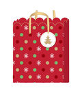 American Crafts Medium Gift Bag with Tag-Scallop-Gold Glitter Accent