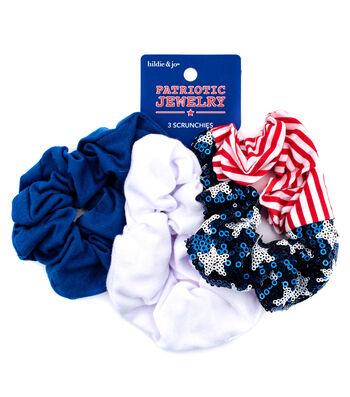 hildie & jo Patriotic Jewelry 3 pk Scrunchies-Stars, Stripes & Solid