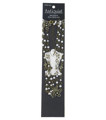 hildie & jo Antiquist 20'' Flower Antique Gold Necklace-Pearls