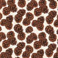 Christmas Cotton Fabric-Pinecones with Placed Glitter