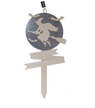 Maker's Halloween Craft 14.25''x29'' Wood & Metal Stake-Witch & Bats