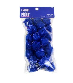 Land of the Free Tinsel Pom Poms 30/Pkg-Blue