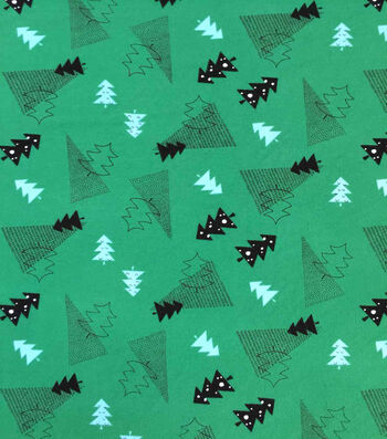 "Doodles Christmas Cotton Fabric 57""-Red, Black & Green Holiday Trees"