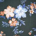 Silky Print Textured Fabric-Dark Green Floral