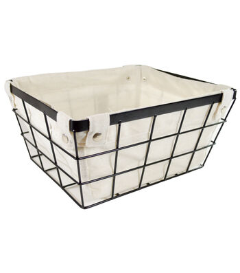 Medium Laundry Storage Metal Wire Basket with Liner-Black