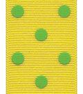 Offray Grosgrain Ribbon 1.5\u0027\u0027x9\u0027\u0027-Green Dippy Dots on Yellow