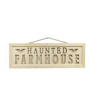 Maker's Halloween Craft Laser Cut Wood Sign-Haunted Farmhouse