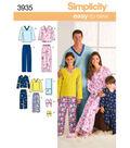 Simplicity Pattern 3935A Child & Adult Sleepwear-Size XS-L/XS