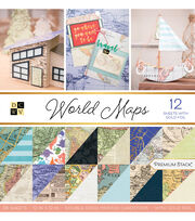 DCWV 12''x12'' 36 Pack Premium Printed Cardstock Stack-World Maps, , hi-res