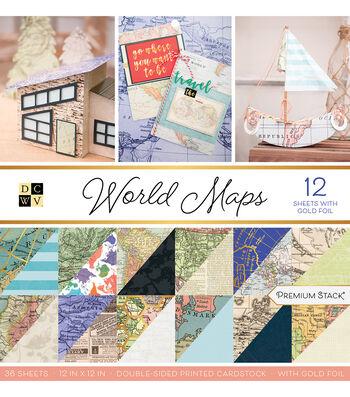 DCWV 12''x12'' 36 Pack Premium Printed Cardstock Stack-World Maps