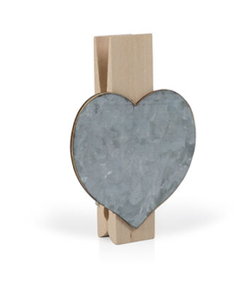 Jumbo Wood & Metal Clothespin-Heart