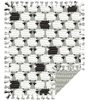 """No Sew Fleece Throw Kit 48""""-Gray Sheepie"""