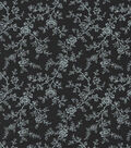 Quilter\u0027s Showcase Cotton Fabric 44\u0022-Black Gray Floral Vines