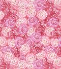Premium Cotton Print Fabric 43\u0027\u0027-Pink & Pearl Packed Flowers