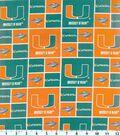University of Miami Hurricanes Cotton Fabric -Block