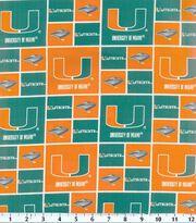 University of Miami Hurricanes Cotton Fabric 43''-Block, , hi-res