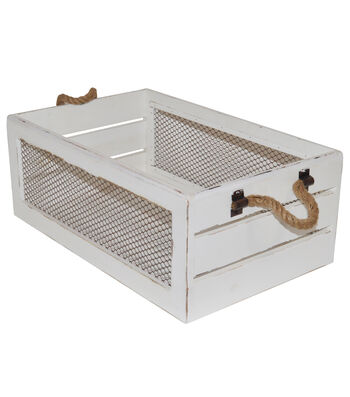Farm Storage Medium Crate with Chicken Wire-White