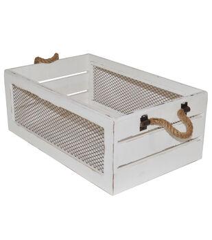 Farm Storage Medium Crate with Chicken Wire-White