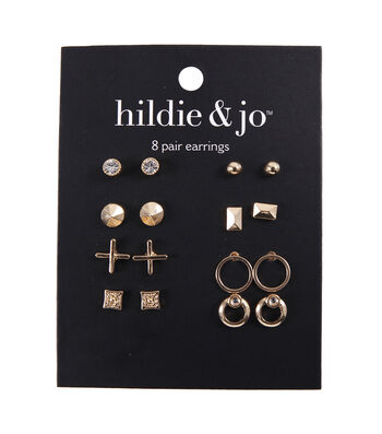 hildie & jo Minimalist 8 Pair Earrings-Clear & Gold