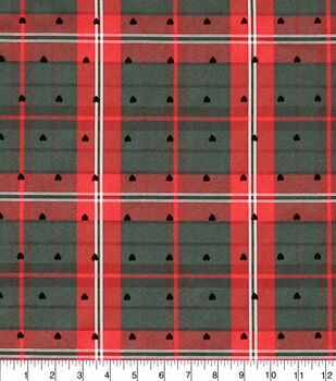 Sew Sweet Diamond Tartan Plaid Taffeta Fabric-Heart Flocking