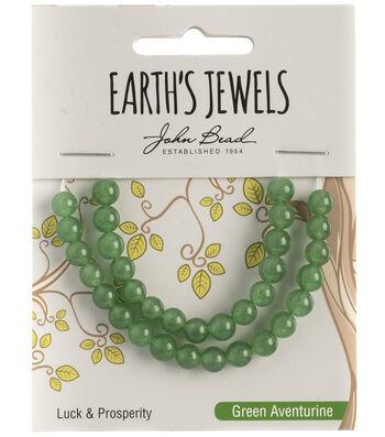 Earth's Jewels Semi-Precious Round 6mm Beads-Green Aventurine