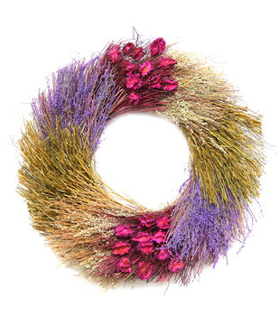Blooming Autumn Color Blocked Dried Wreath
