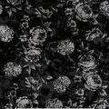 Stretch Panne Velour Fabric 58\u0022-Black Gray Tapestry Floral