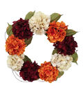 Blooming Autumn Hydrangea Wreath-Burgundy