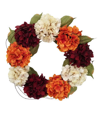 Blooming Autumn Hydrangea Wreath-Burgundy