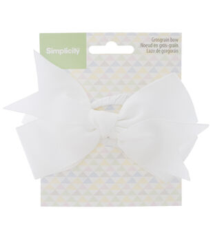 Simplicity Large Grosgrain Bow-White